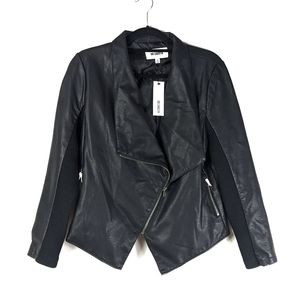 NWT BB Dakota Gabrielle Faux Leather Jacket Black